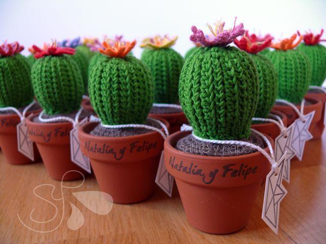 boda detalles para invitados wedding crochet cactus homemade