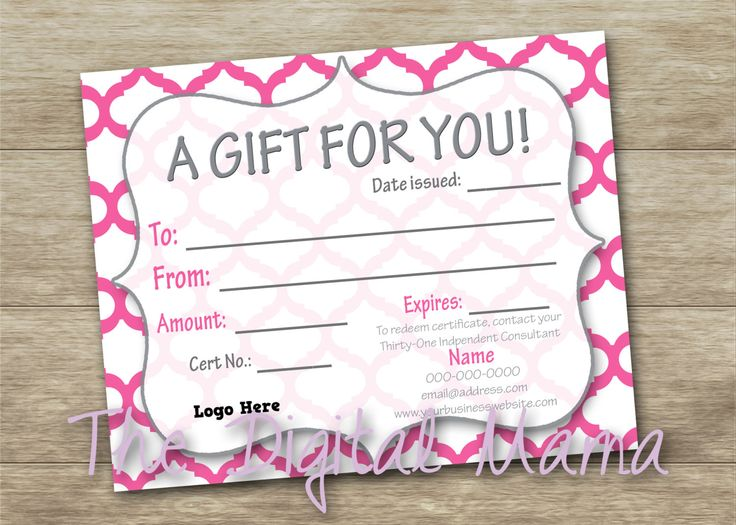 Thirty-One Customer Gift Certificate - Thirty-One Business - Thirty-One Consultant Tool - Direct Sales Certificate - Digital Download by TheDigitalMama on Etsy