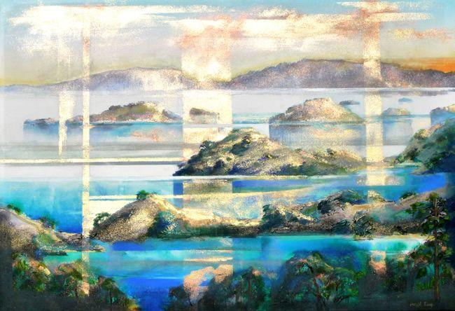 Harold Coop, Coromandel Evening, acrylic with metallic pigments