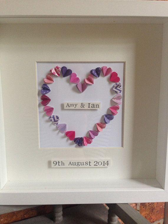 Effect Box Frame Wedding Gift Anniversary Personalised Mr Mrs Heart Valentine S Day Mini Hearts Love