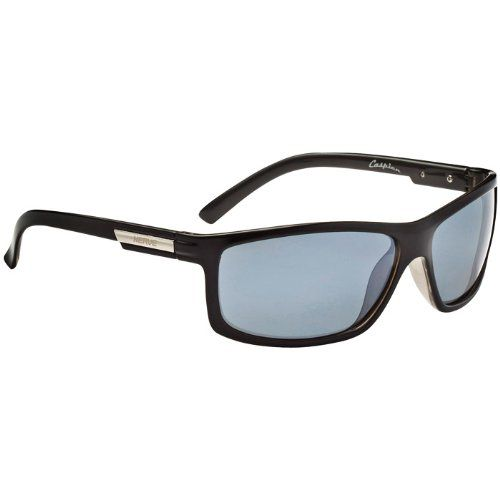 Optic Nerve Caspien Sunglasses (Shiny Black, Polarized Smoke)