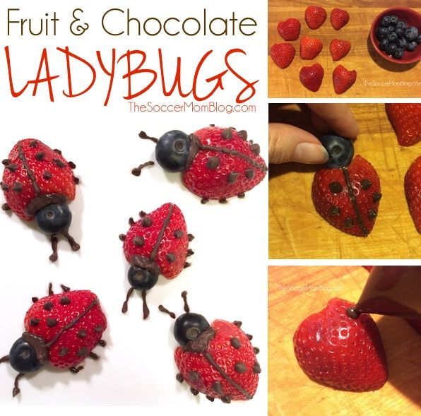 These easy fruit ladybugs make eating fruit fun! A healthy snack or dessert for kids that they will love to eat!