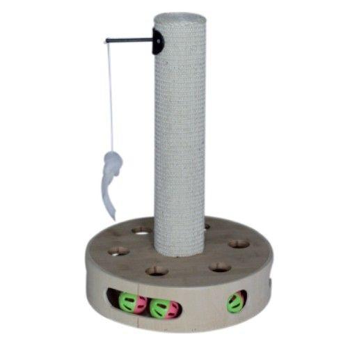 RascadorColumna Gruyere Rascador que se convertirá en el juguete favorito de tu gatogracias a las pelotas con sonajero que tiene incluidas en la base.