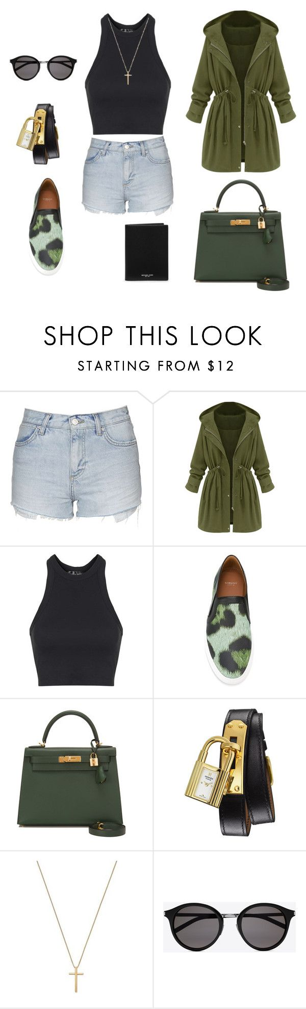 """Untitled #284"" by nadiralorencia on Polyvore featuring Topshop, Givenchy, Hermès, Gucci, Yves Saint Laurent, Michael Kors, women's clothing, women, female and woman"