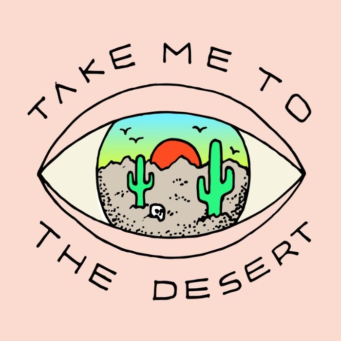 TAKE ME TO THE DESERT Art Print #desert @illustration #cactus #eye
