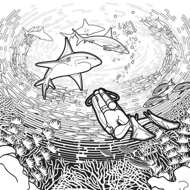 Realistic Scuba Diving Coloring Page Coloring Pages Adult