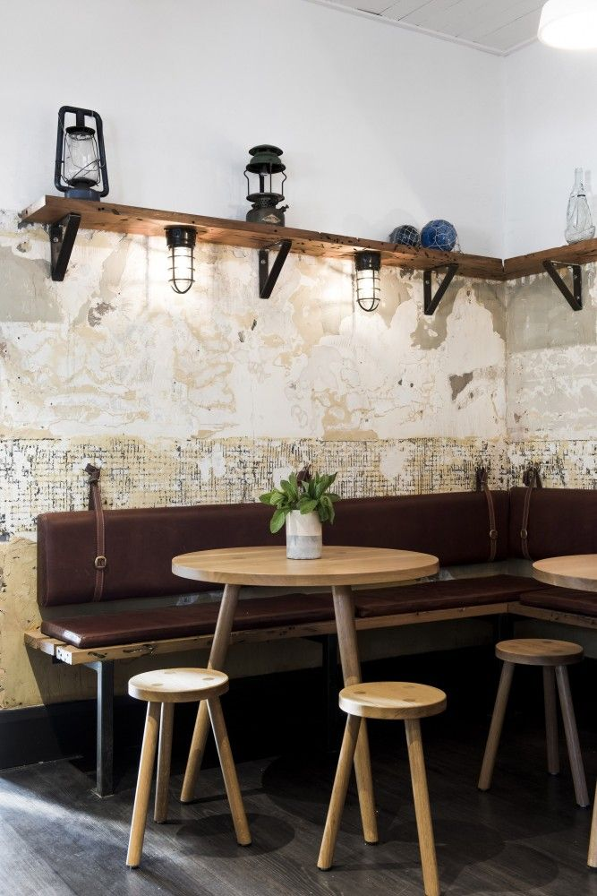 Love the effect on these restaurant walls where the tiles have been removed.