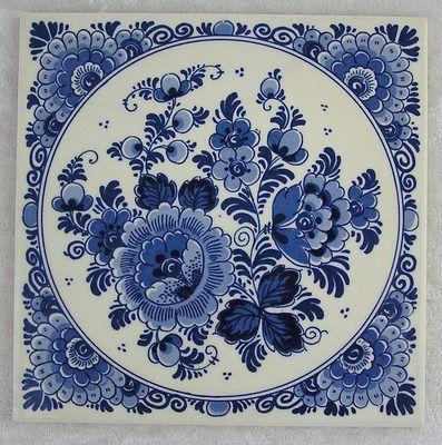 "Delft Blauw Hand Painted Floral Flowers 6"" Dutch Tile Trivet Wall Decor-Holland"