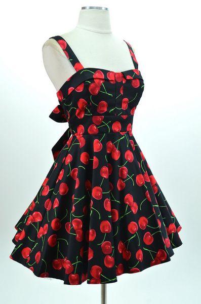 Wholesale Vintage Gallus Design Backless Cherry Print Bow Sleeveless Dress For Women (BLACK,S), Vintage Dresses - Rosewholesale.com