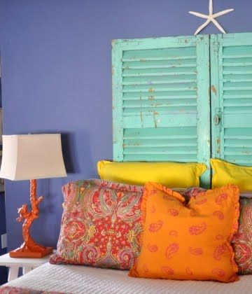 58 best diy repurposed shutters images on pinterest for Beach house headboard ideas