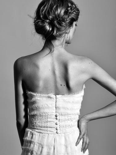 strapless wedding dress with shredded georgette