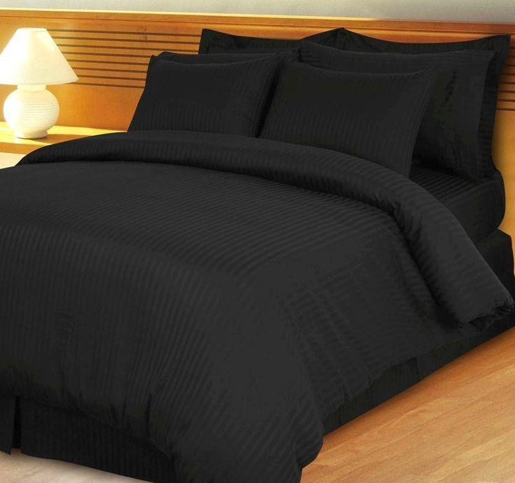 Stripe Black Down Alternative Bed In A Bag Egyptian Cotton 600 Thread Count Black Comforter Setsdark