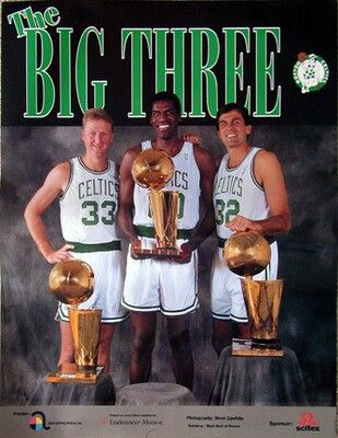"""""""The Big Three"""" Larry Bird, Robert Parrish and Kevin McHale"""
