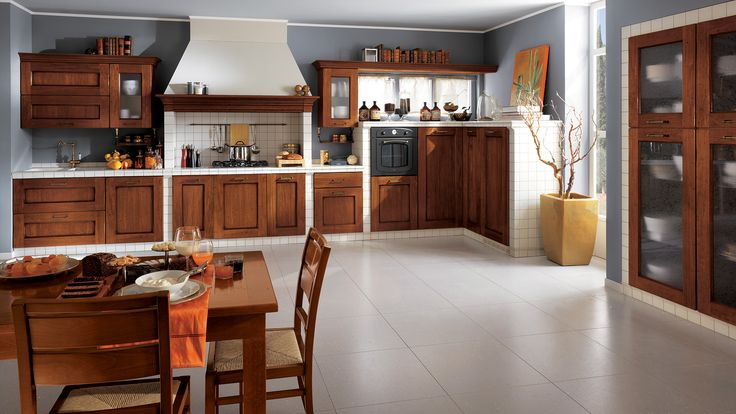 Amélie Kitchen - design by Raffaello Pravato.   A wooden kitchen that returns to the values of authenticity, with traditional design, natural, lasting materials and innovative technical features.