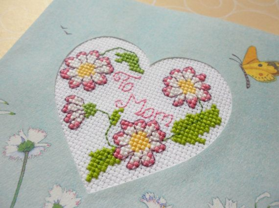 Mothers Day Cross Stitched Greeting Note Card by stitchnmomma, $7.50