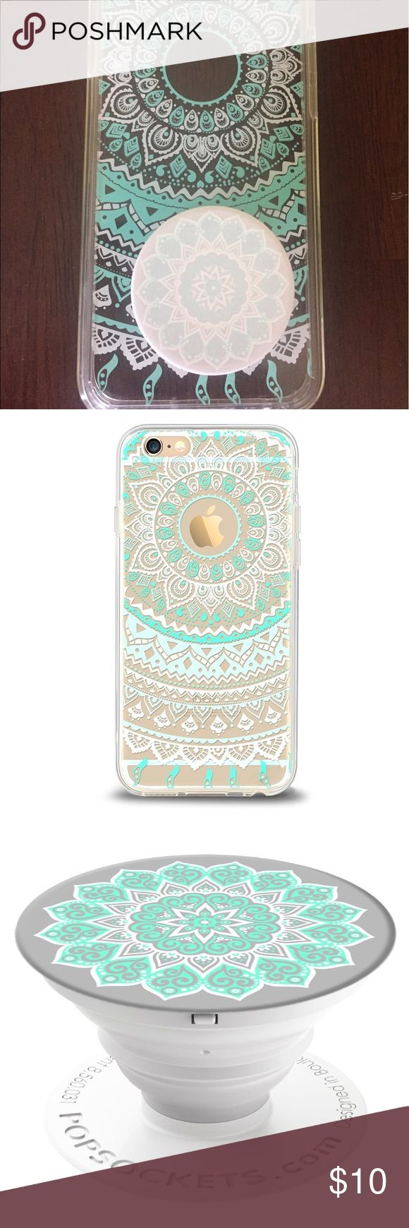 iPhone 6 case with popsocket Practically brand new IPhone 6 case with popsocket. Purchased just over a month ago but unfortunately it will not fit my new phone. Great deal and super cute!!! iphone Accessories Phone Cases