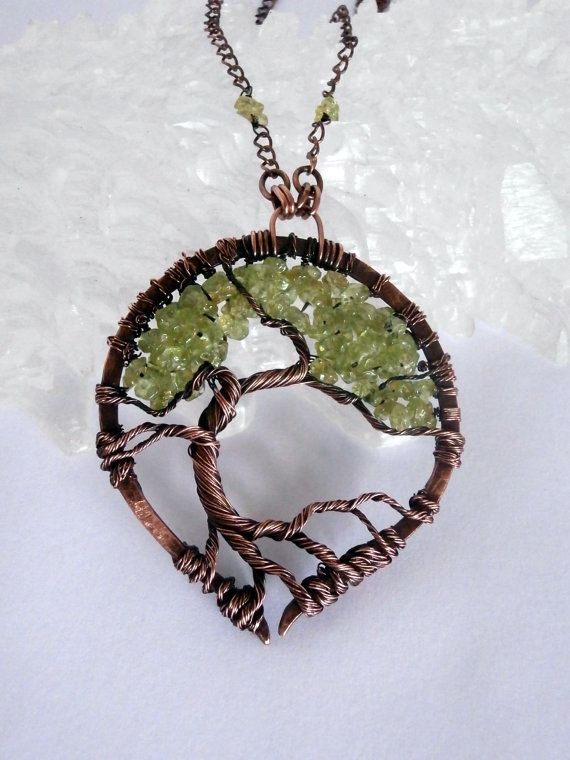 SOLD! Wire Wrapped Tree of Life Pendant Necklace, Peridot Bonsai by PerfectlyTwisted