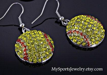 Cute Softball Rhinestone Earrings by MySportsJewelry on Etsy, $10.99