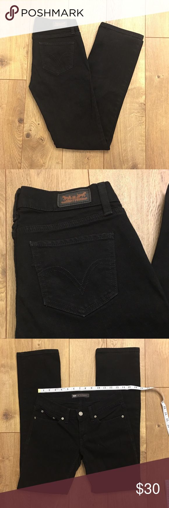 "Black Levi's 524 Too Superlow Jeans In great condition. The tag has been cut off but the size most closely resembles a 6M or 7M. Refer to measurements.   Measurements (approx) -  Hip- see pictures Ankle- see pictures  Inseam- 31""  Materials- See label in photos, (if one is not photographed it is because it has been cut off.)  Please comment with any questions--- Make me an offer! Levi's Jeans"