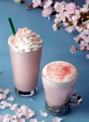 """Sakura Cream Frappuccino"" and ""Sakura Steamer"""