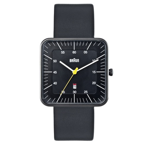 Braun Square Analog Watch with Date - Black