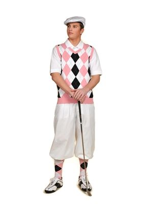 Pair this White/Pink/Black/Light Blue Overstitch sweater vest and socks with white golf knickers and cap to make this Men's Complete Golf Knickers Outfit.