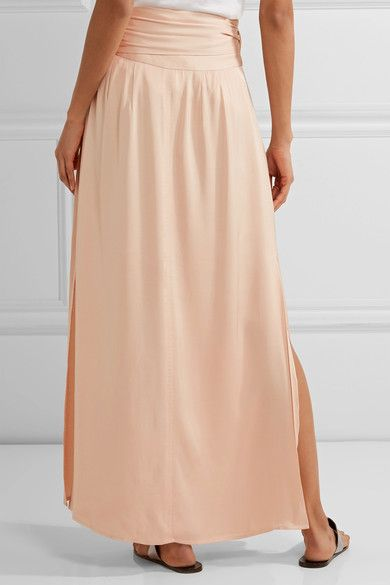 Elizabeth and James - Almeria Satin Wrap Maxi Skirt - Peach - x small