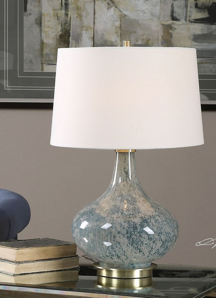 Celinda blue gray glass lamp by uttermost 25