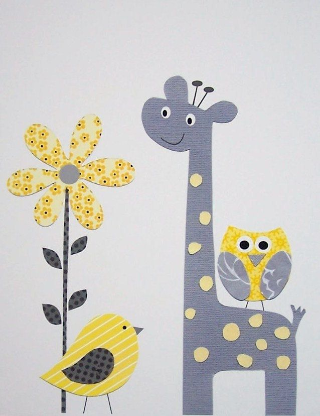 Kids Wall Art, Grey and Yellow Nursery, Nursery Art, Art for Children, Giraffe, Birds, Yellow, Gray, Pretty Yellow Flower, 8x10 Print. $14.00, via Etsy.