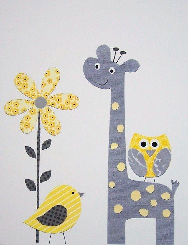 Kids Wall Art, Grey and Yellow Nursery, Nursery Art, Art for Children, Giraffe, Birds, Yellow, Gray, Pretty Yellow Flower, 8x10 Print. $14.00, via Etsy.