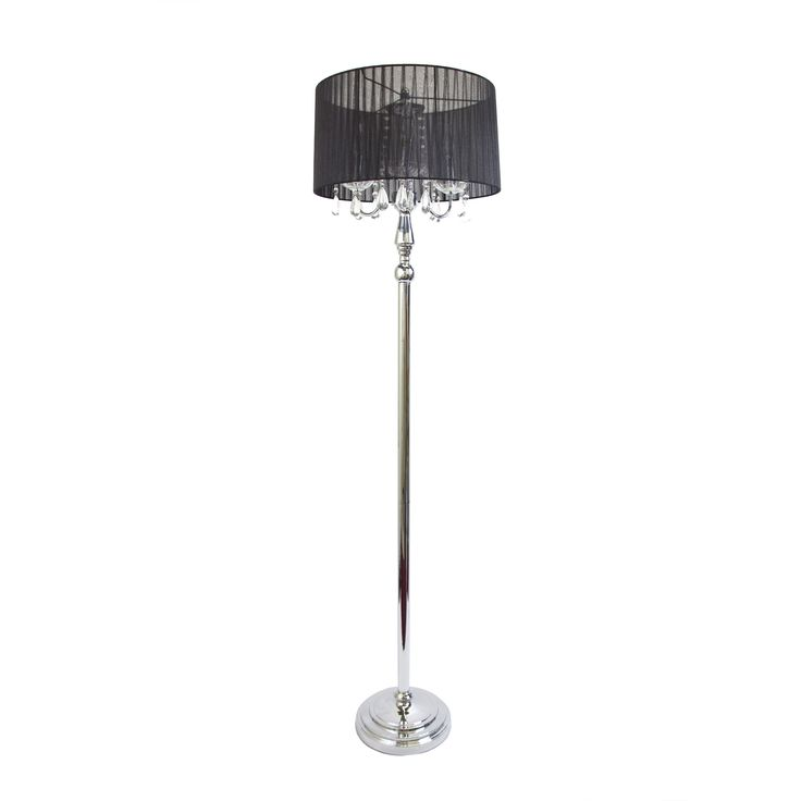Shade Floor Lamp With Hanging Crystals