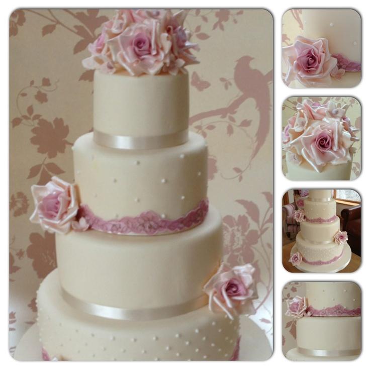 Dusky pink wedding cake vintage