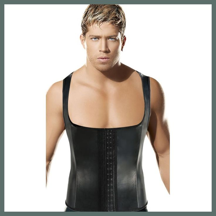 Hot Shapers Men Latex Waist Trainer Corset Vest Slimming Belt Shaper Waist Cincher Corset Steel Bone Girdle Men Hombre Adelgazar