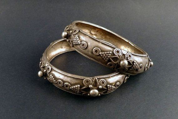 South indian silver bangle  south indian by ethnicadornment