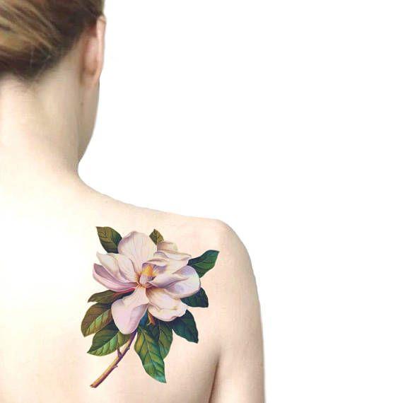 Magnolia big temporary tattoo / floral illustration tattoo /