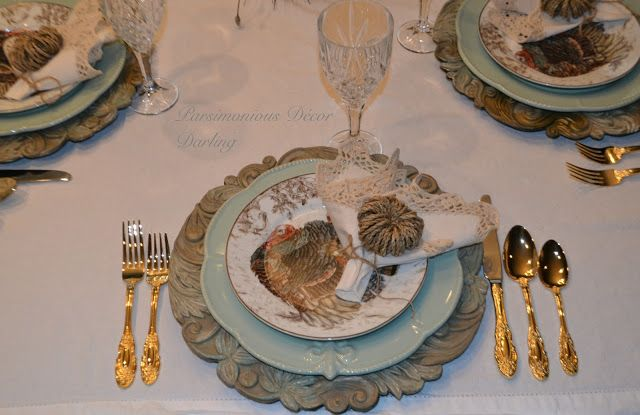 A Rustic Thanksgiving Tablescape.  Love these Plymouth Tom Turkey plates from Williams-Sonoma!