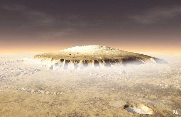 Олимп - самая высокая гора в Солнечной системе. Находится на Марсе, высота - 21.2 км (земной Эверест, 8,8 км - не конкурент). Олимп простирается на 540 км в ширину и имеет крутые склоны по краям, высотой до 7 км