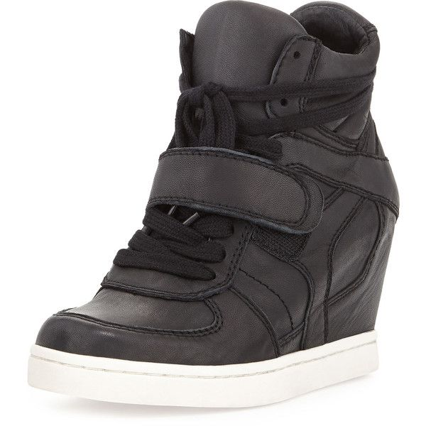 Ash Cool Ter Leather Wedge Sneaker (105 AUD) ❤ liked on Polyvore featuring shoes, sneakers, black, heels, ash sneakers, black platform shoes, wedges shoes, black platform sneakers and platform shoes