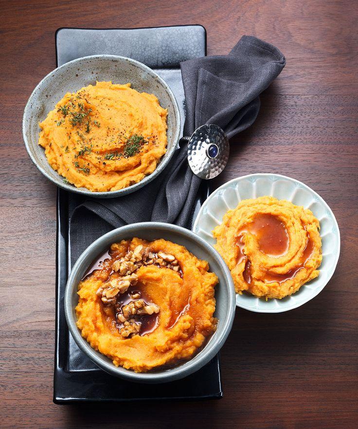 Sötpotatismos är minst lika gott som vanlig potatismos. Servera till kyckling, kött eller vegetariskt.