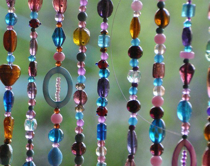 Beaded Curtain-Glass Beaded Suncatcher- Window Curtain-Beaded Door Curtain-Hanging Door Beads-Beaded Wall Hanging-Bohemian Wall Art-Wall Art