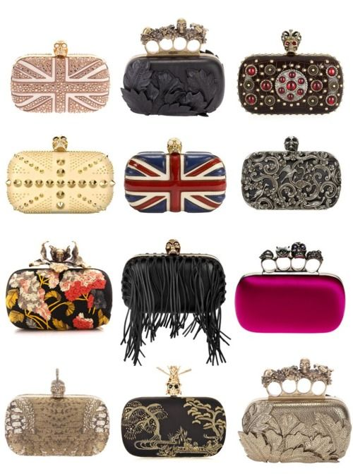 still completely in love with these alexander mcqueen clutches - the skulls make it so edgy!