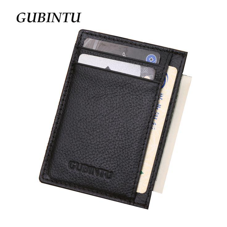 Gubintu Genuine Leather Men Slim Front Pocket Card Case Credit Super Thin Fashion Card Holder trave wallet tarjetero hombre