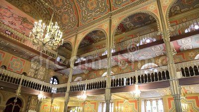 Coral Temple interior architecture - jewish community synagogue in Bucharest.