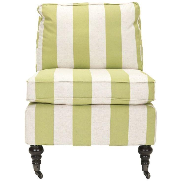 Safavieh Bosio Striped Beige Green Armless Club Chair Home