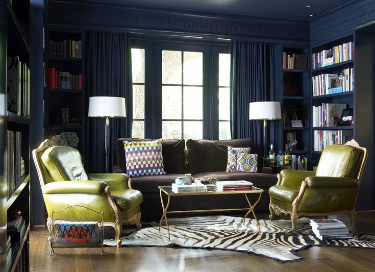 Love this dark, inky blue library by Jan Showers in Highland Park, Texas. Walls, millwork, ceiling, and even drapes all that same gorgeous deep cadet blue give the space a cozy, yet sophisticated feel. Perfect for those popping chartreuse leather chairs and the zebra throw rug. Whatever you do, don't miss the greek key woodwork detail in the frieze below the room's cornice - fabulous.