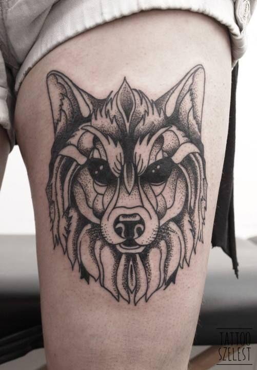 #wolf #blackwork #dotwork #tattoo #szelest