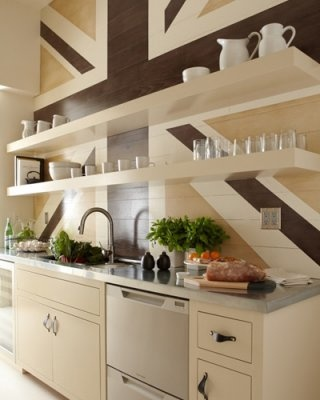 San Fran. 2012 - Allison Bloom and Tinsley Hutson-Wiley teamed up to design a modern galley kitchen. The two transformed a former butler's pantry into a bright, airy kitchen with a lacquered, oak-planked Union Jack wall treatment as the focal point.