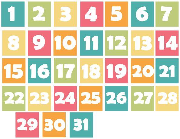 Printable Calendar Numbered Days