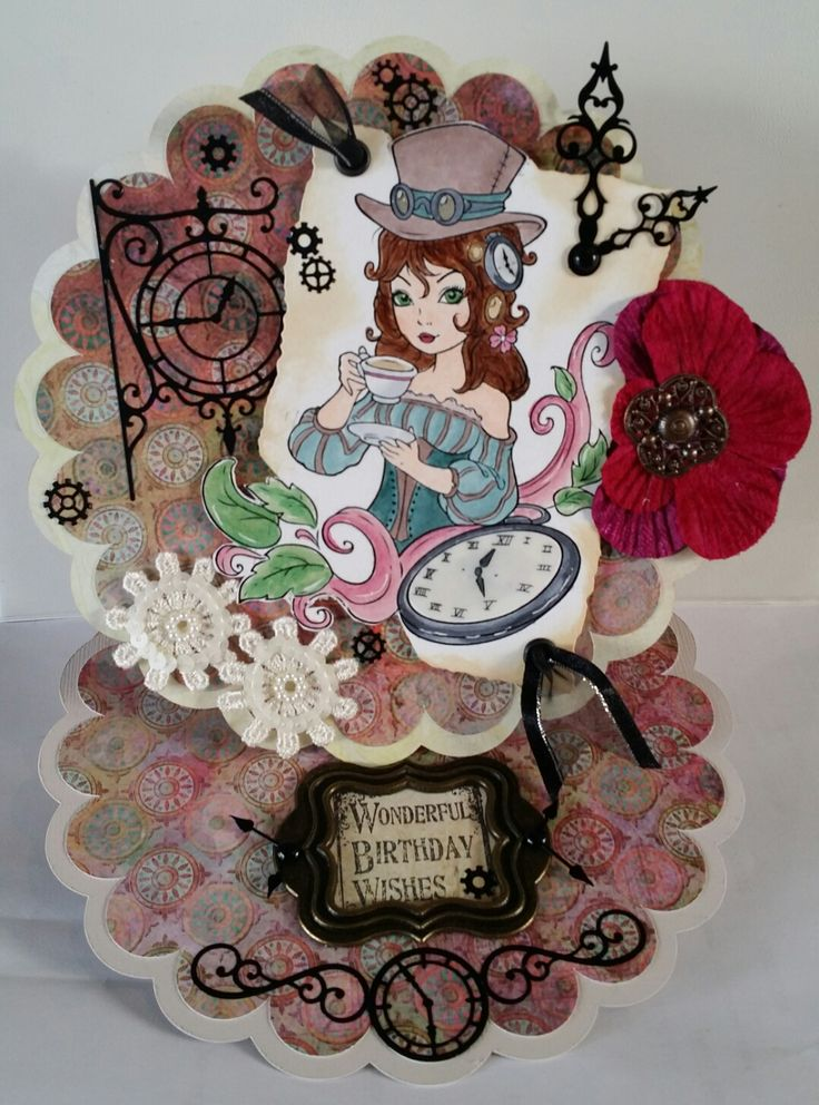 "Challenge 38 - Steampunk. Easel card cut on my Cameo. Paper Shelter digi stamp ""It's Tea Time"", coloured with Copics and Glossy Accents; Tea Dye distress ink around the edges and cut out on a Nesties. I added some ribbon through eyelets and Prima metal clock hands. The paper and flower are Prima. Lace gears are Jolees stickers. The black clock and gears are stickers. For the inside my LOTV sentiment is framed with a Gorjuss metal frame and clock hands and brads."