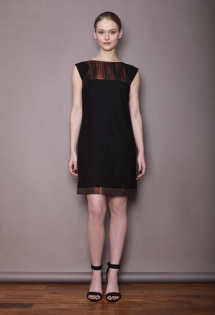 robe en crêpe noir et taffetas cuivré